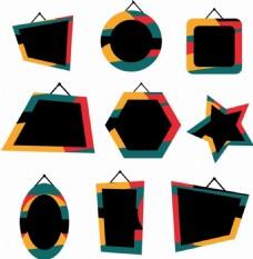 几何图案挂牌图标ai矢量素材下载