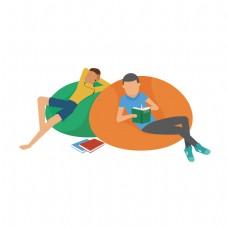 扁平化坐着看书的两个男人矢量素材