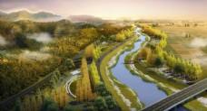 河道景观鸟瞰图