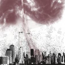 地震建筑物倒塌大雨烟雾效果素材
