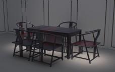 茶桌椅茶室全套建模设计