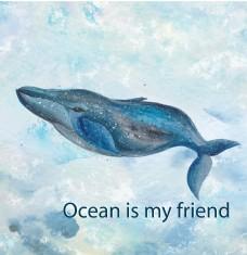 蓝色水彩绘鲸鱼插画