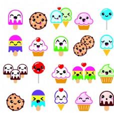 彩色甜品卡通矢量素材