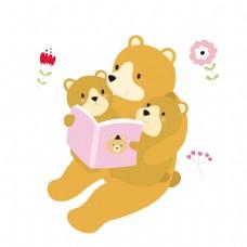 给小熊讲故事的熊爸爸矢量素材