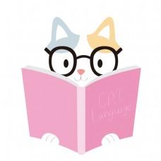 卡通看书的小猫咪矢量素材