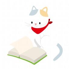 翻阅书籍的猫咪矢量素材