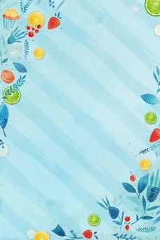 初夏风绿色柠檬卡通手绘蓝色线条背景