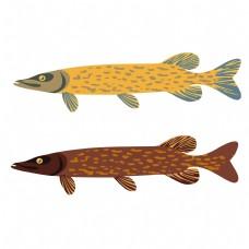动物图案鱼造型元素