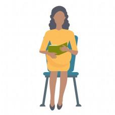 坐着的孕妇矢量素材