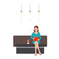 坐沙发上看书的女人矢量素材