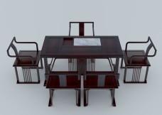 弧影茶桌3d建模
