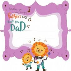 父亲节边框紫色花边动物边框
