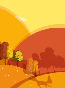 手绘卡通黄色秋天背景
