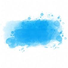 蓝色水彩晕染效果元素