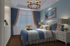 欧式现代背景墙卧室效果图