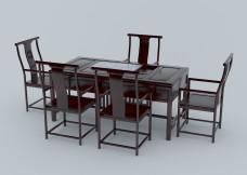 木制家具第七套茶桌建模素材