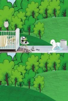植物森林儿童房壁纸墙画