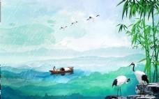 清新唯美山水风景海报背景