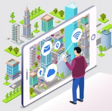城市背景卡通手机操作设计图