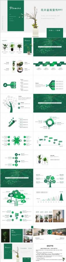 简约绿色花卉盆栽宣传PPT模板