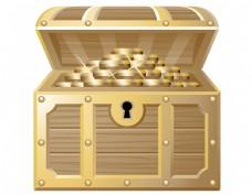 装满金币的箱子矢量图