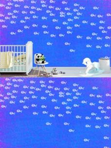 蓝色好多鱼的儿童房壁纸