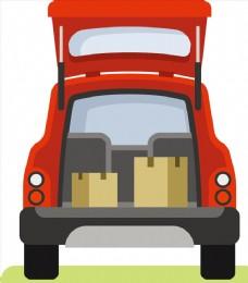矢量卡通汽车后备箱