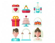 卡通结婚蛋糕礼盒元素
