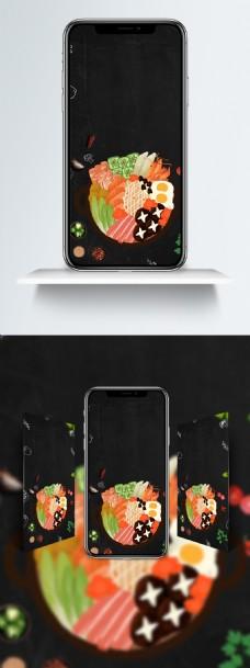 黑色美食中国新店开张打折促销海报手机壁纸