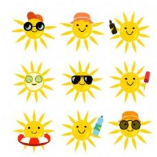 可爱黄色太阳设计矢量素材
