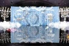 蓝色纯色浅色主舞台婚礼效果图