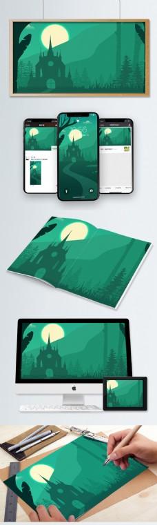 森林中的古堡扁平化风景插画
