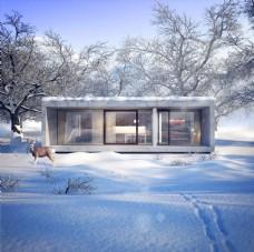 雪景别墅效果图