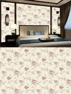 新中式卧室背景墙壁纸四方连续壁纸贴图