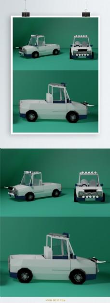 小车设计元素C4D灰绿背景小货车
