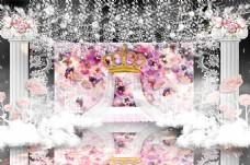 粉色浮雕花婚礼效果图