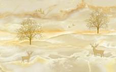 uv电视背景墙壁画简约大理石鹿树墙纸