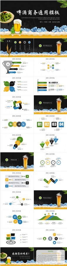 黑色啤酒茶品发布会融资计划书PPT模板