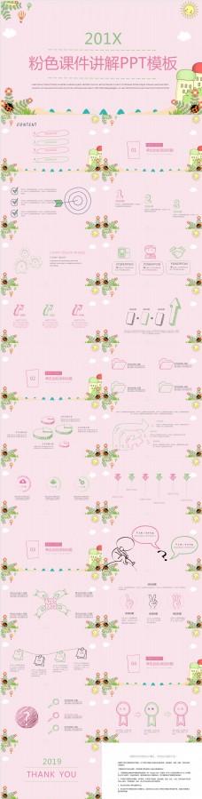 粉色小清新风培训课件PPT模板