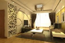 创意简欧花纹背景墙吊顶壁纸客厅3d效果图