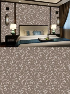 新中式美式卧室背景墙壁纸四方连续壁纸拼花