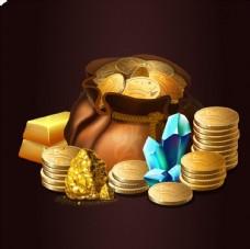 钱包金币纸币矢量素材