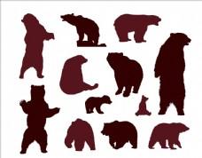 矢量卡通熊动作剪影