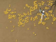 银杏花鸟手绘装饰图