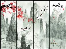 山水诗歌手绘中国风背景墙