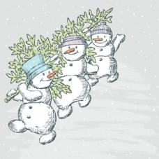 手绘卡通雪人