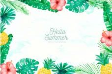 夏季水彩风格的植物和水果背景