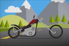 矢量卡通手绘风景摩托车