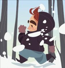 快乐冬季卡通插画设计