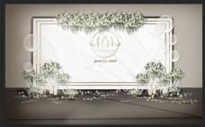 简约欧式白色舞台背景工装素材